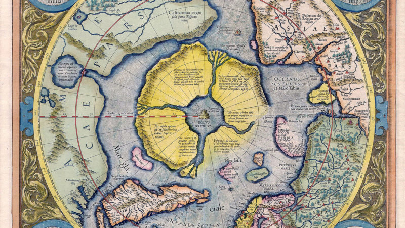 Map of the Arctic by Gerardus Mercator. First print 1595, this editon 1623.